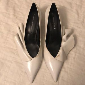 Zara white leather heels